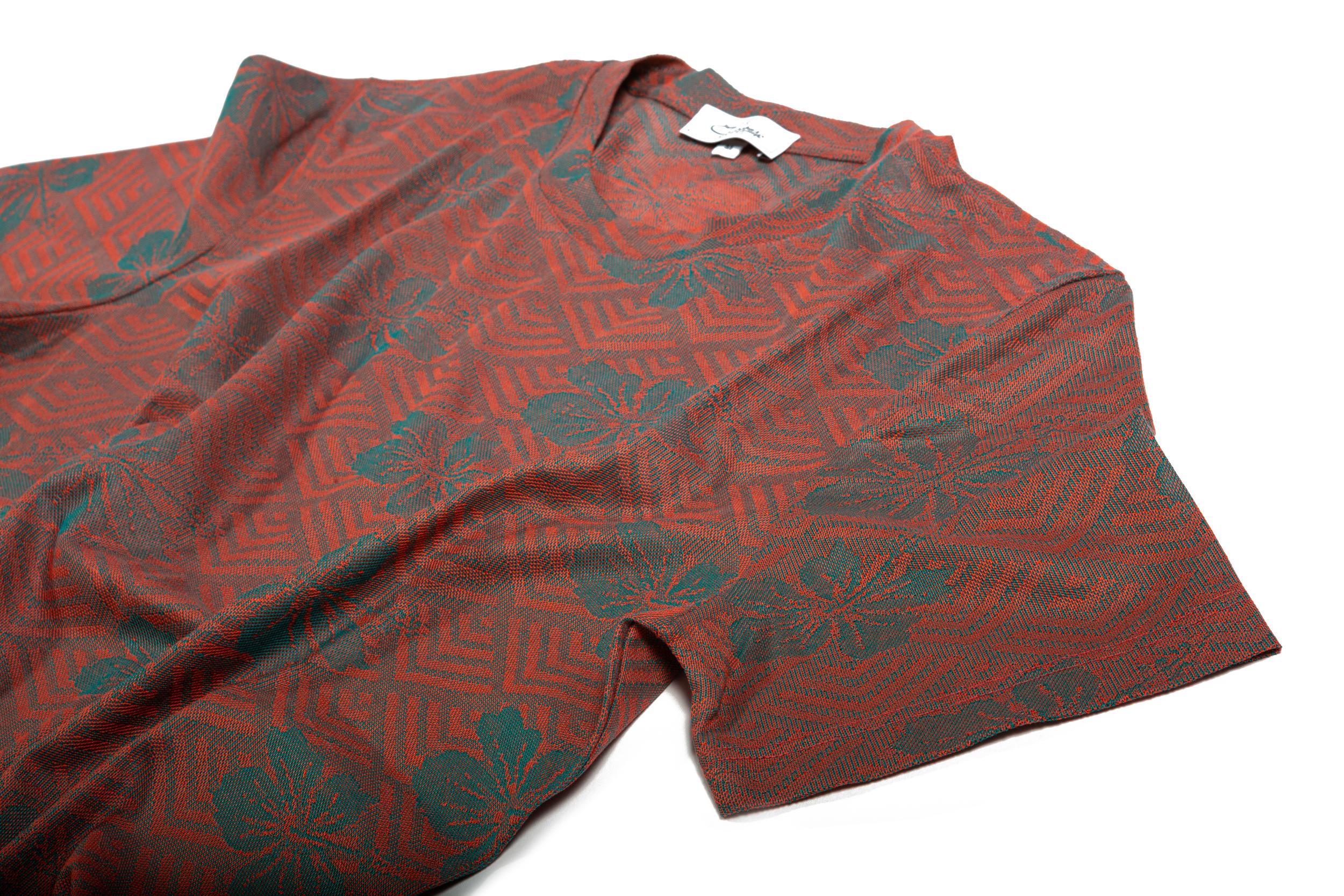 Girocollo maxi jacquard in cotone disegno fiore