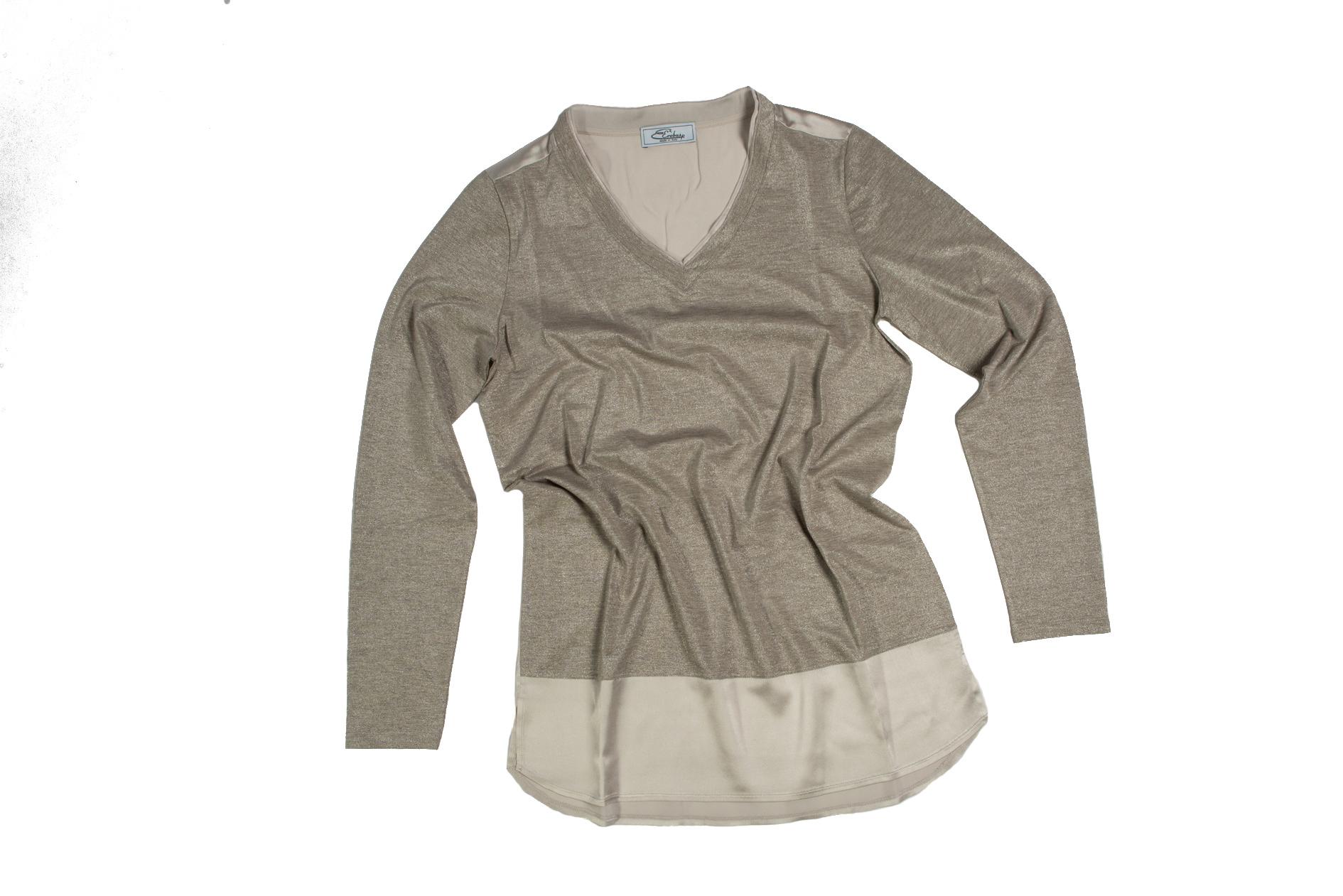Maglia scollo V jersey e lurex con inserti in seta