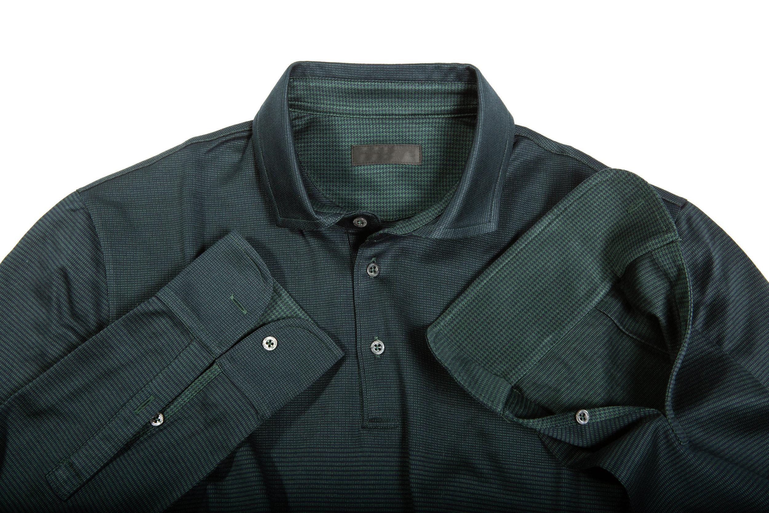 Colletto e maniche camicia mix jacquard