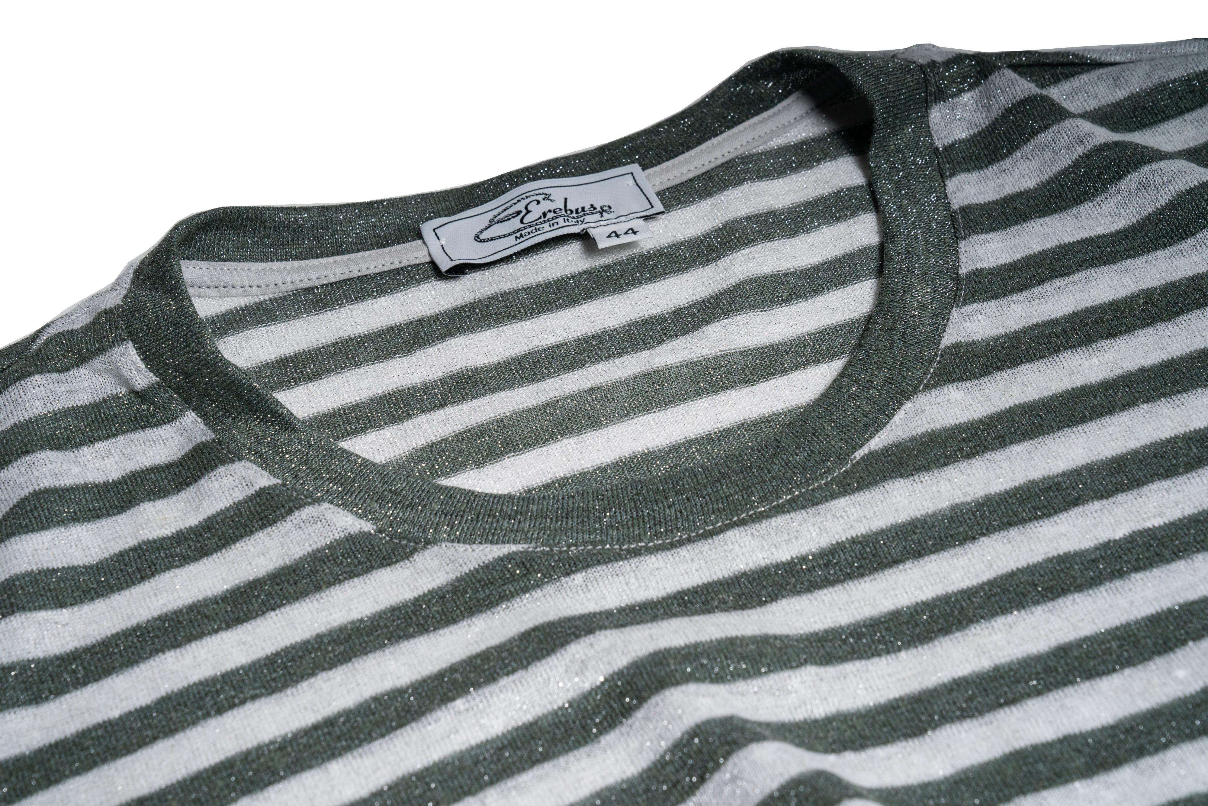 Dettaglio collo maglia lino/lurex rigato