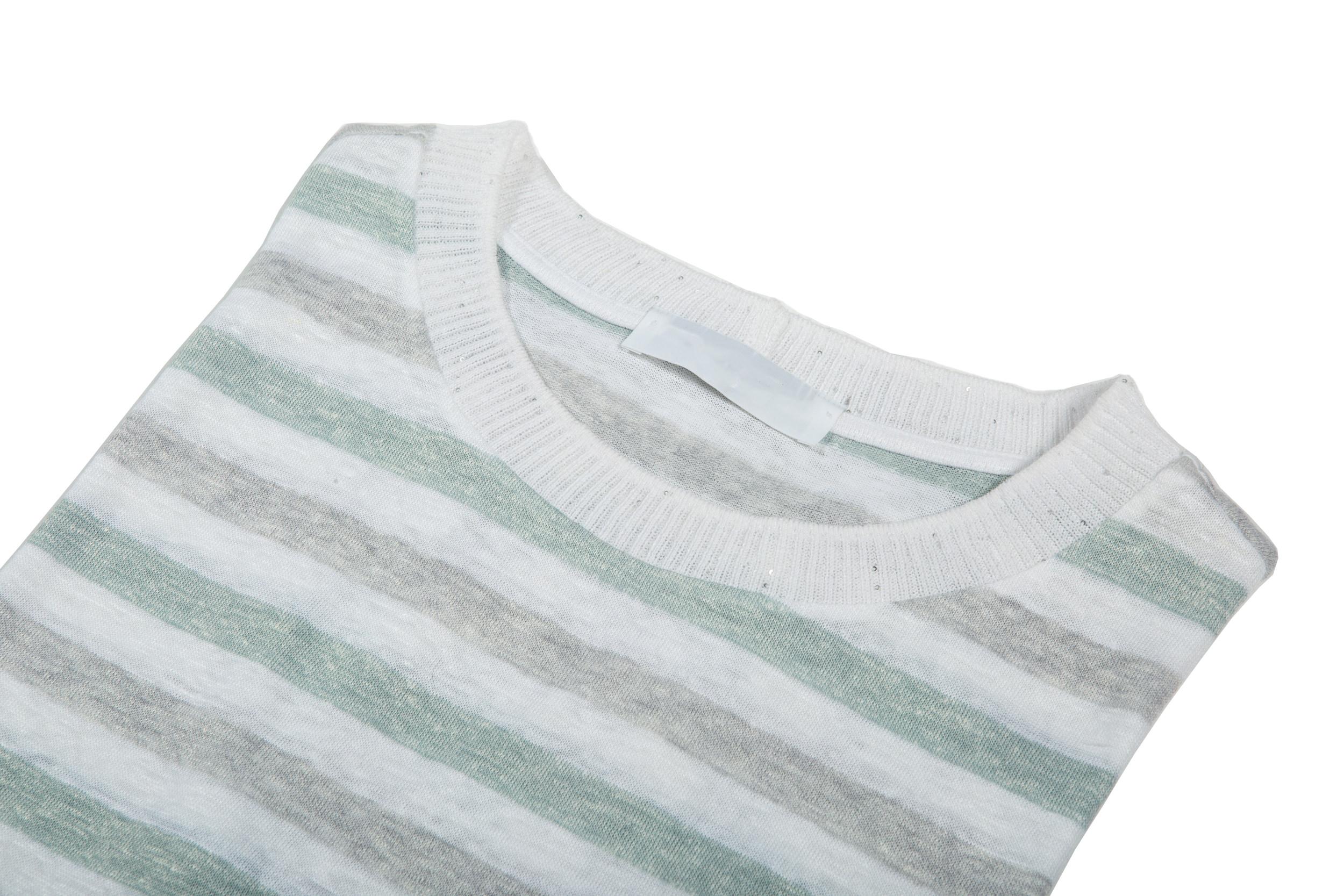 Dettaglio Girocollo donna cotone/lino rigato