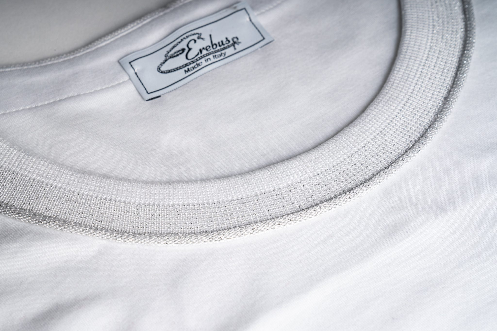 Scollo jaquard tshirt bianca e argento