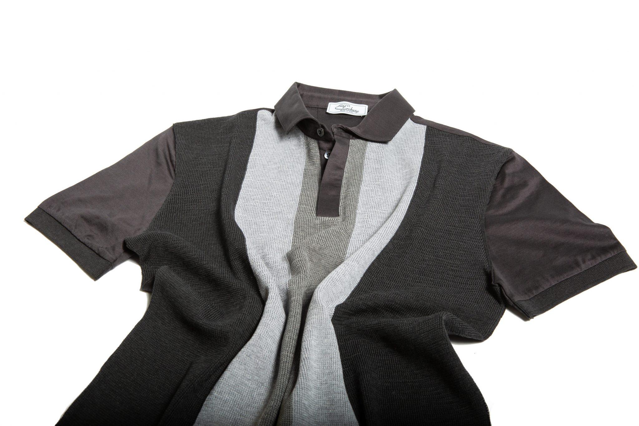 Polo uomo in jersey in tre tonalità di grigio